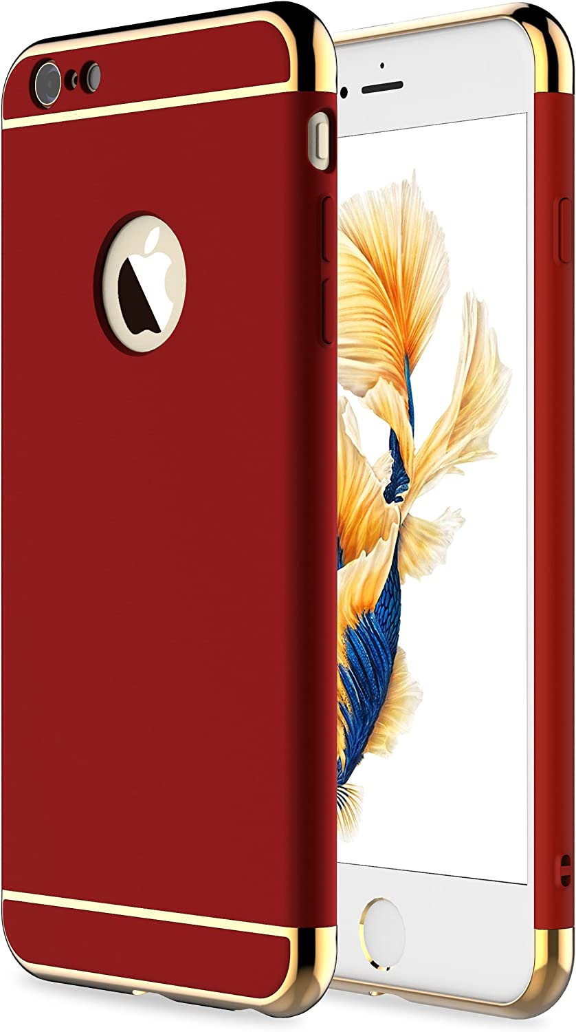 RORSOU iPhone 6s Plus Case,iPhone 6 Plus Case, 3 in 1 Ultra Thin and Slim Hard Case Coated Non Slip Matte Surface with Electroplate Frame for Apple iPhone 6/6s Plus(5.5') - Red and Gold