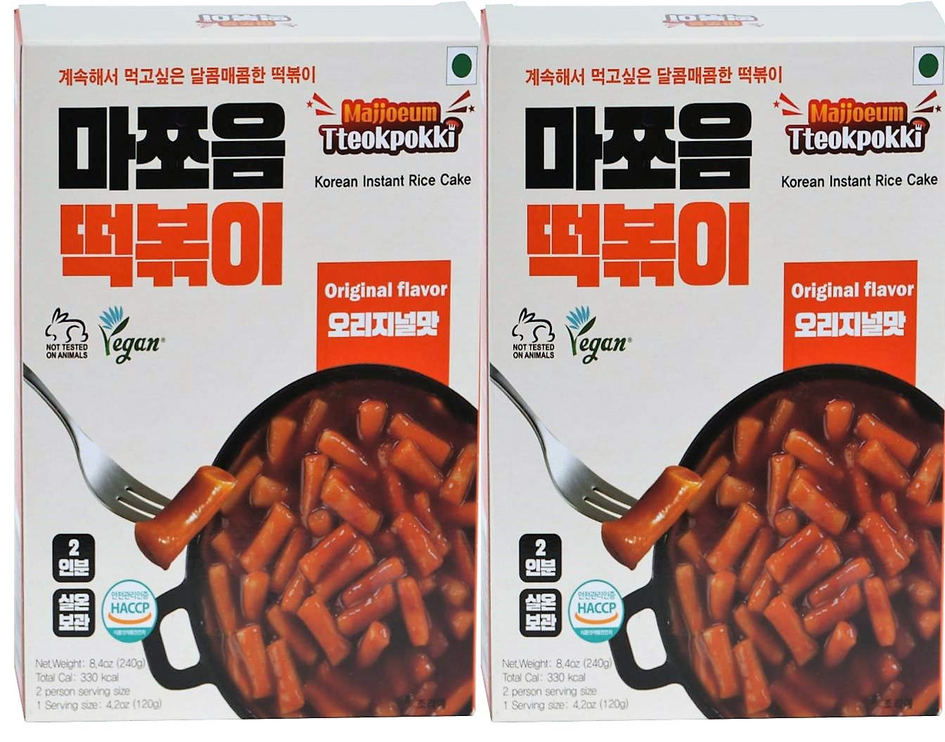 Vegan SD Foods Majjoeum Original Flavor Tteokbokki Korean Instant Rice Cake - Pack of 2 (4 Servings) - Korean Street Foods - 100% Vegetable Ingredients 떡볶이 (Original (Vegan))