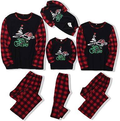 Hinzonek Navidad Familia Pijamas a Juego Papá Mamá Niño Camisa Pantalones Ropa de Dormir Conjunto Bebé Infantil Mameluco Pijamas de Navidad (Hombres/M): Amazon.es: Ropa y accesorios