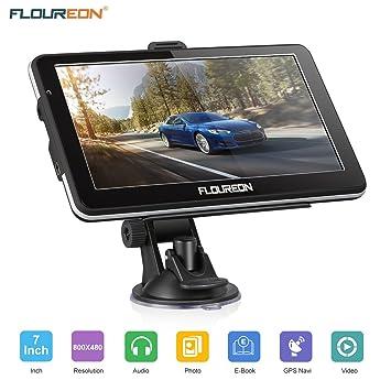 FLOUREON GPS Coche Recargable Pantalla Táctil 7 Pulgadas Gran Potencia Batería Soporte Tarjeta SD Multimedia Radio