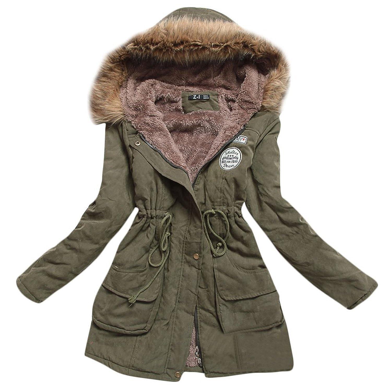 Mintsnow Womens Hooded Warm Winter Coats Faux Fur Lined Parkas ...