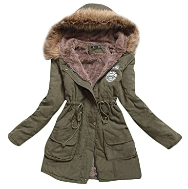 Mintsnow Women s Faux Fur Hooded Cotton-Padded Parka Long Jacket Army Green  US S ( 01e041fc2d