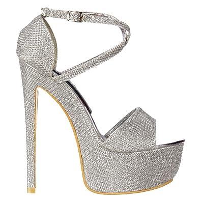 ecae8442734e68 Shoekandi Women s Ladies Strappy Cross Over High Heel Stiletto Party Shoe -  Yellow   Pink Patent