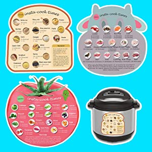3 Large Size Magnetic Cheat Sheet with Food Shape Images & Cooking Time Schedule, Compatible with Instant Pot Air Fryer & Pressure coooker, Magnet Cooking Times Accessories for 45 Common Functions