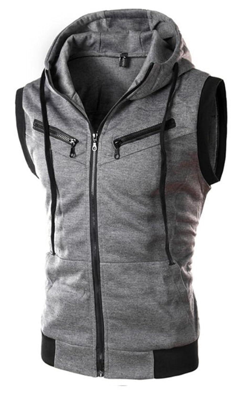 BYWX Men Slim Fit Active Zip Pocket Sleeveless Hoodie Zip-up Vest Workout Tank Top