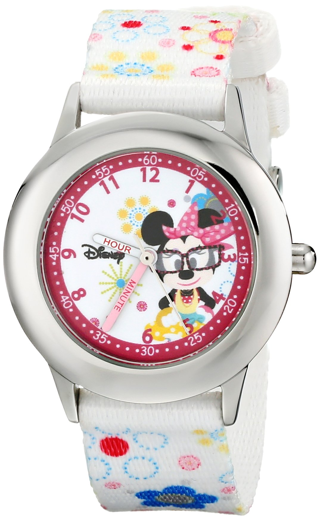 Disney Kids' W000364 Minnie Mouse Stainless Steel Time Teacher Printed Strap Watch by Disney