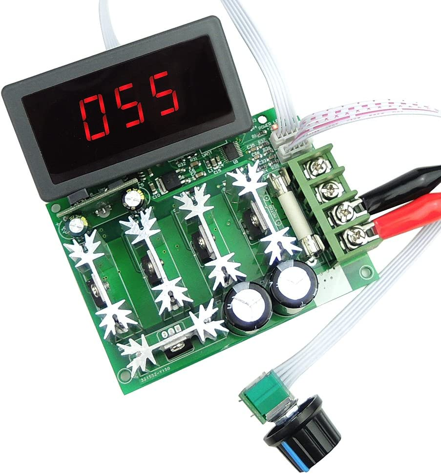 uniquegoods 12V 24V 36V 48V 60V 80V DC 30A PWM Variable Speed Regulator DC Motor Speed Controller Stepless Speed Control Switch HHO Driver Module LED Digital Display with Shell