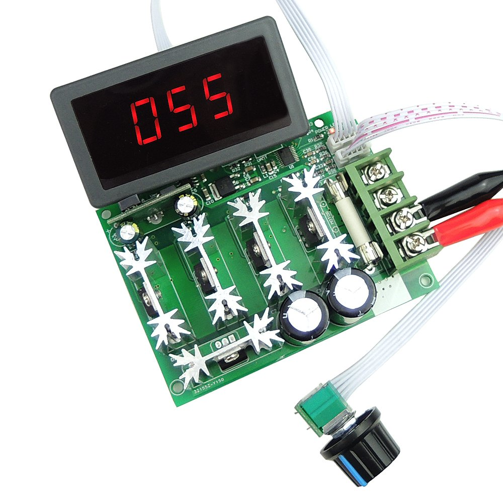 uniquegoods Digital LED Display Driver Board 12V 24V 36V 48V 60V 80V DC 30A PWM Variable Speed Regulator DC Motor Speed Controller Stepless Speed Control Switch HHO Driver Module CCM6DS-D1