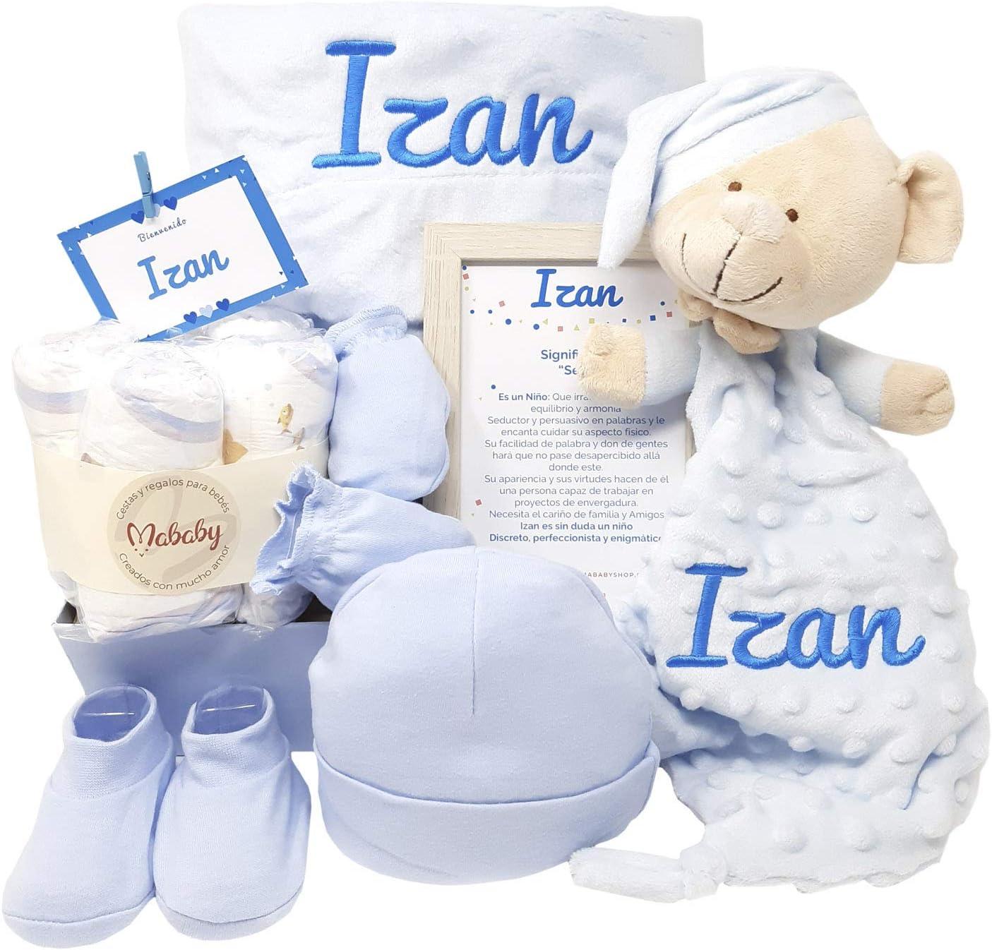 MabyBox Velvet DouDou | Canastilla Bebé Personalizada | Cesta Regalo Recién Nacido | Set Bebe Recién Nacido Personalizado (Azul)
