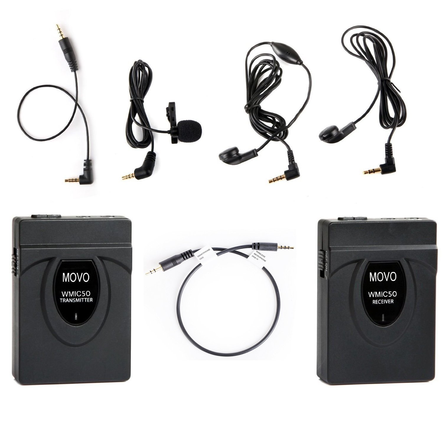 Movo 2.4GHz Wireless Lavalier Microphone System (164' Range) with Transmitter, Receiver, Lav Mic, and TRRS Cable for iPhone 5, 5C, 5S, 6, 6S, 7, 8, X (Regular & Plus), Samsung Galaxy, Note & More