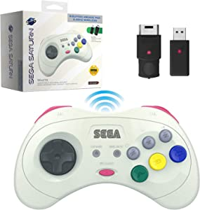 Retro-Bit Official Sega Saturn 2.4 GHz Wireless Controller 8-Button Arcade Pad for Sega Saturn, Sega Genesis Mini, Switch, PS3, PC, Mac - Includes 2 Receivers & Storage Case - White