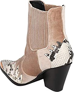 82d2b8edc2a Women Mixed Media Pointy Toe Flame Pattern Cowboy Bootie HJ88