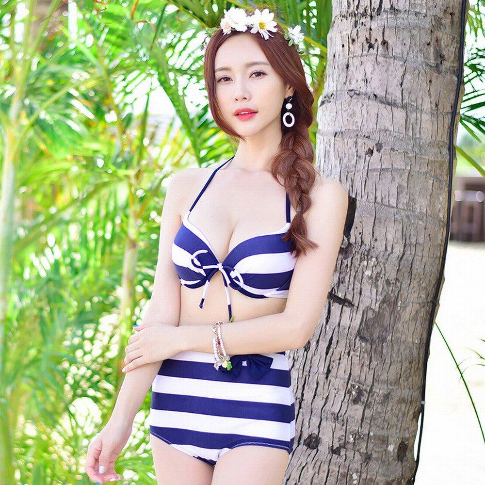 DHG Bikini-Dreiteiliger Badeanzug Der Sexy Eleganten Eleganten Eleganten Art und Weise Grünikaler Streifen,EIN,L B07FQJQBCG Bikini-Sets Modebewegung ca2add