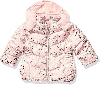Pink Platinum Girls Little Spray Foil Print Puffer