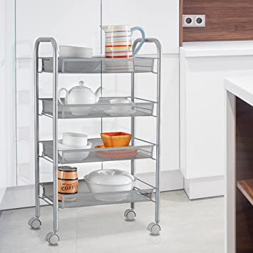 LANGRIA 4 Tier Kitchen Rolling/ Bar Cart Wire Mesh Serving Utility  Organization Indoor Or