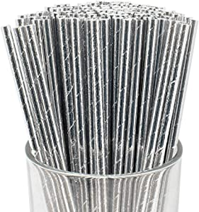 Just Artifacts 100pcs Premium Biodegradable Solid Paper Straws (Solid, Metallic Silver)