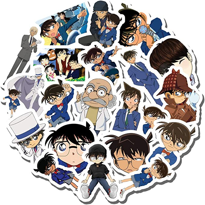 Detective Conan Case Closed Sticker Pack of 50 Stickers Water Bottles Detective Conan Case Closed Computers Waterproof Durable Stickers Classic Japanese Anime Stickers for Laptops
