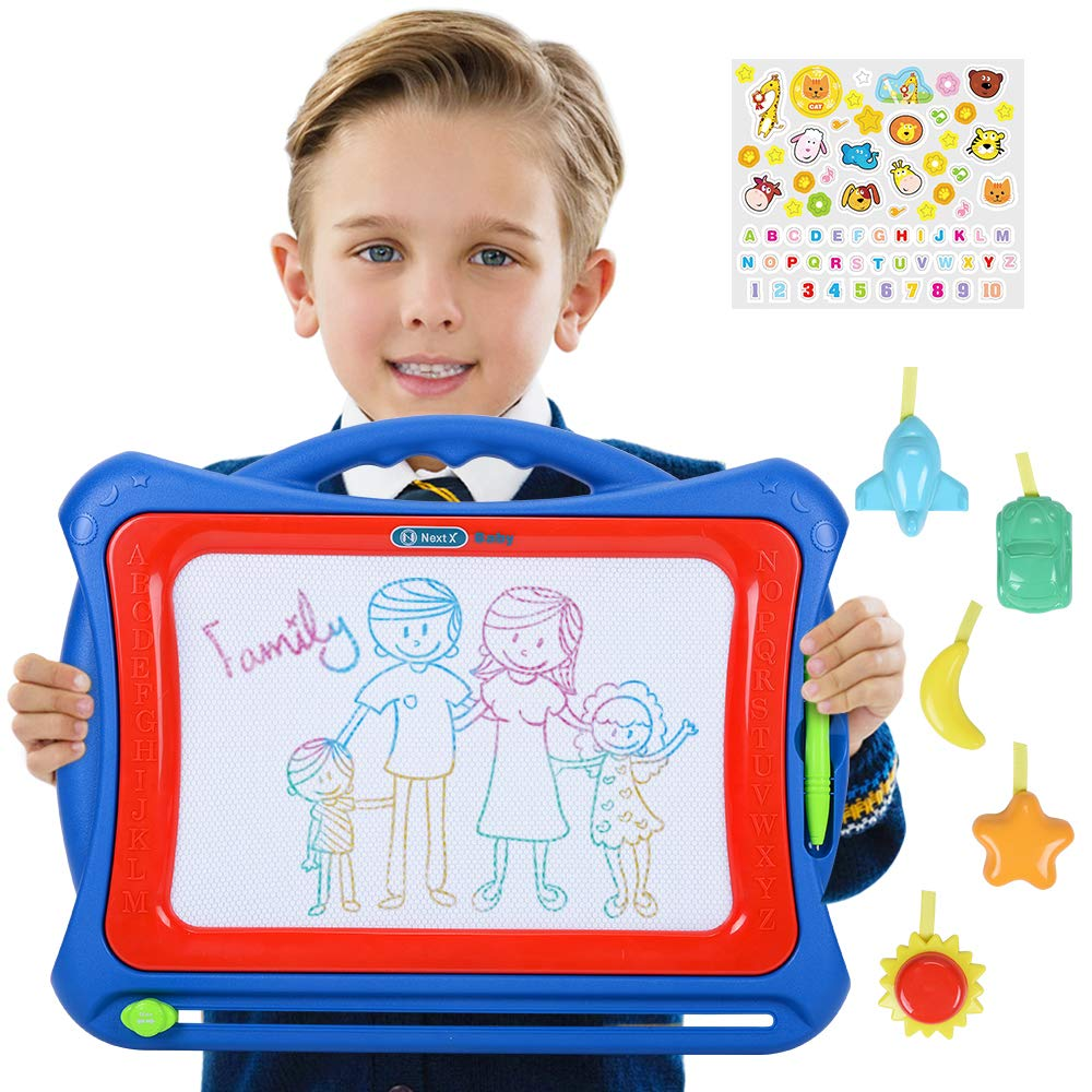NextX Big Size Magnetic Drawing Board for Kids Colorful Doodle Toys Etch a Sketch Educational Gift Set with Lovely Sticker and 5 Stamps (Blue) HBBLU