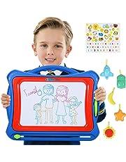 NextX Große Magnetische Maltafel Zaubertafeln für Kinder ab 3 Jahren - Pädagogische Magnettafel Spielzeug-Geschenk mit 5 Form-Stempeln und schönen Aufklebern