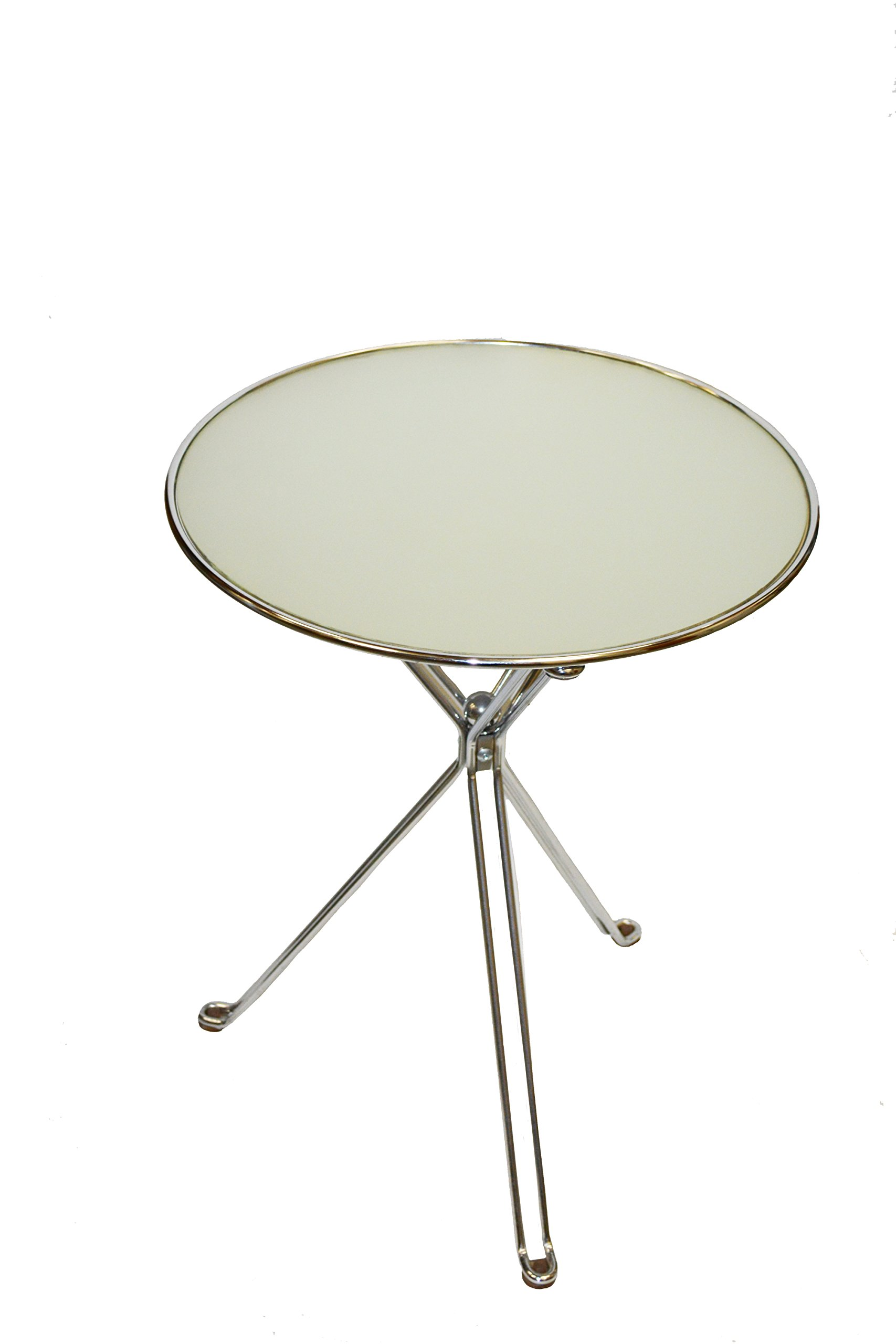 Round Side Table with Steel Frame and a Glass Top