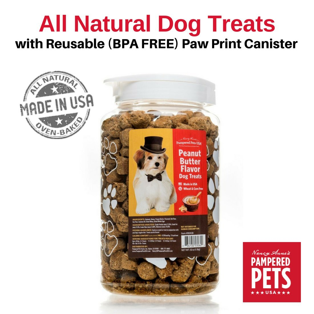 Peanut Butter Flavor Dog Treats in 53 ounces, BPA-Free, Reusable Canister - Made in USA - Oven-baked, Soft and Delicious