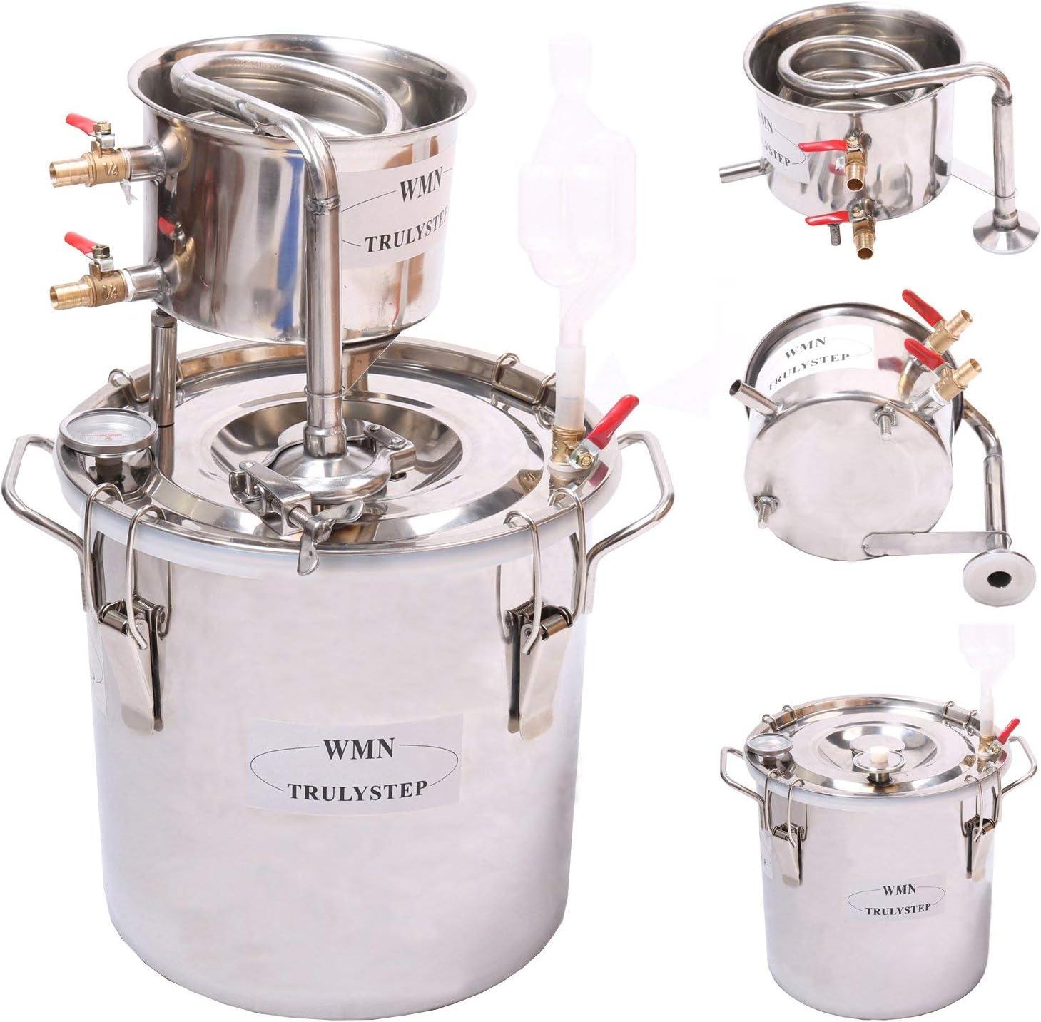 30L Kit de destilación de para el hogar destilador de acero inoxidable; para la elaboración casera de vino, alcohol, cerveza o destilación de agua