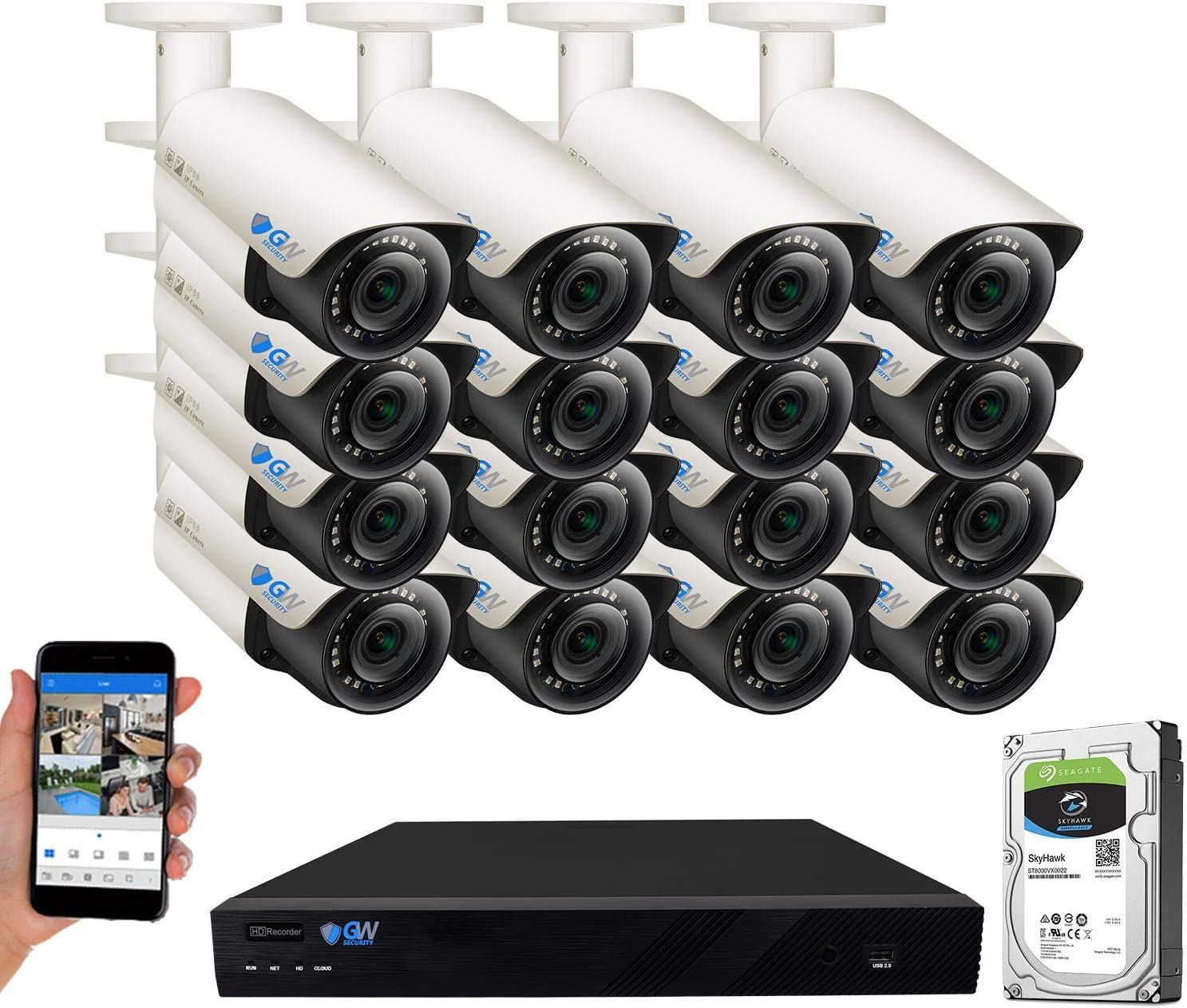 GW Security 16CH 4K NVR UHD 5MP PoE Security Camera System with 16 Outdoor/Indoor 2.8-12mm Varifocal Zoom 5MP 1920P H.265 IP Cameras, 120FT Night Vision, Free APP/PC/Mac Remote Access View