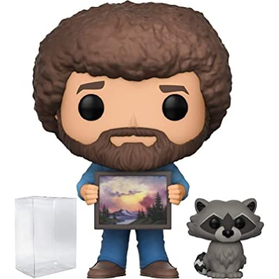 Funko Pop! Television: The Joy of Painting - Bob Ross with Raccoon #558 Vinyl Figure (Includes Compatible Pop Box Protector Case): Toys & Games