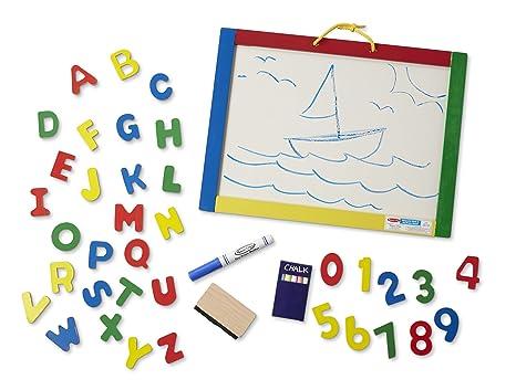 Amazon.com: Melissa & Doug Magnetic Chalkboard and Dry-Erase Board ...