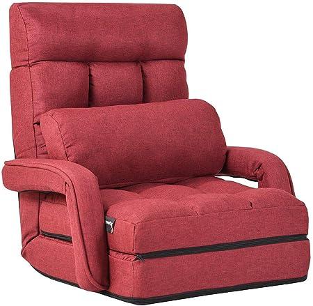 costway fauteuil convertible fauteuil convertible 1 place avec oreiller rembourre avec eponge doux et elastique 5 positions disponibles pour