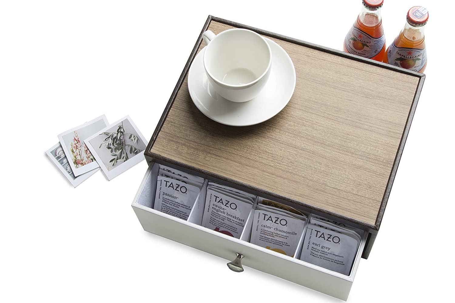 JackCubeDesign Leather Tea Box Storage Box Tea Bag Organizer Holder Tea Storage Drawer Holder with 12 Compartments(Brown/White)- :MK353A