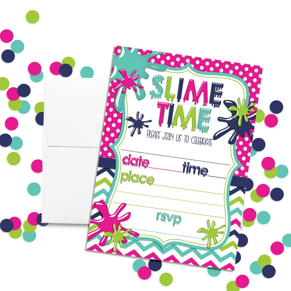 Amazon.com: Slime Birthday Party Invitations for Girls, 20 5\