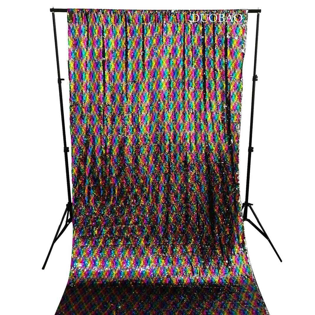 DUOBAO Sequin Backdrop 8Ft Rainbow to Silver Wedding Pics Backdrop Mermaid 4FTx8FT Sequin Backdrop Curtain Reversible
