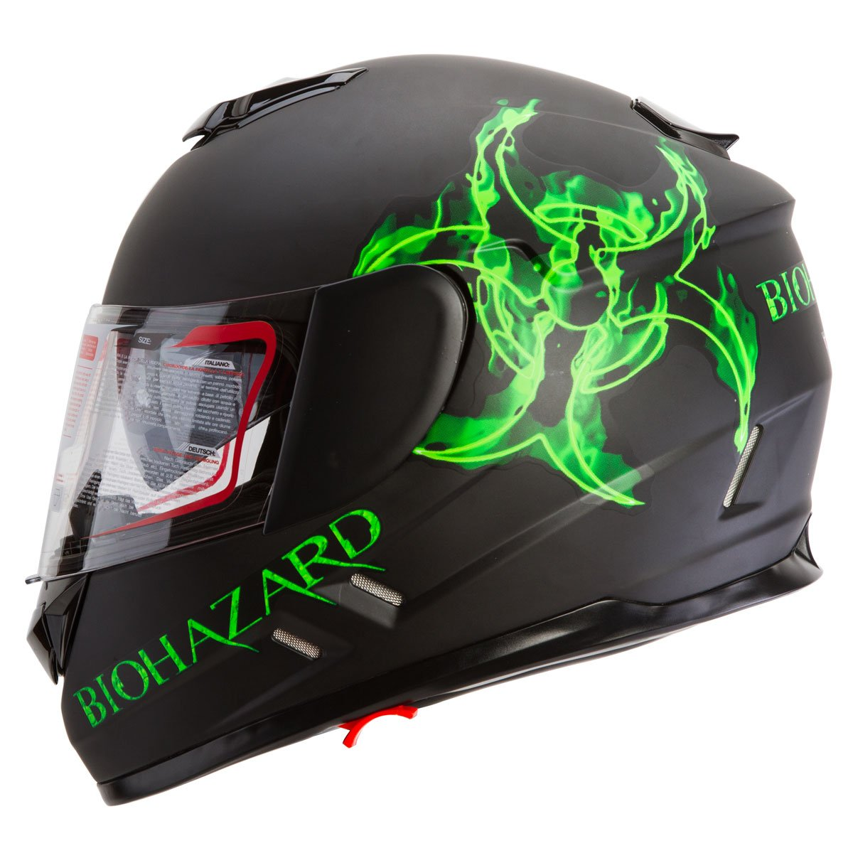 IV2 High Performance Full Face Dual Visor Motorcycle Helmet Matte Black ''Bio-Hazard'' (L)