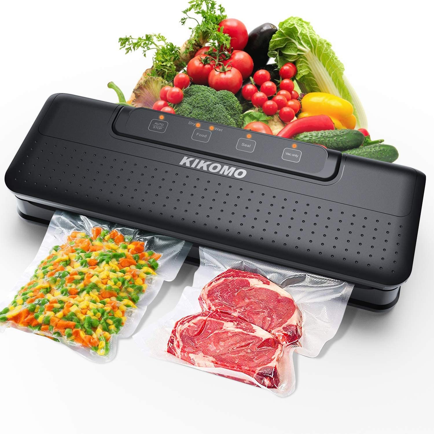 【Upgrade Dual Pumps】Vacuum Sealer Machine, KIKOMO Automatic Food Saver with Air Sealing System |One-Touch Operation |Led Indicator Lights |Dry Moist Food Modes |Starter Kit |15 Vacuum Bags |2 Gaskets