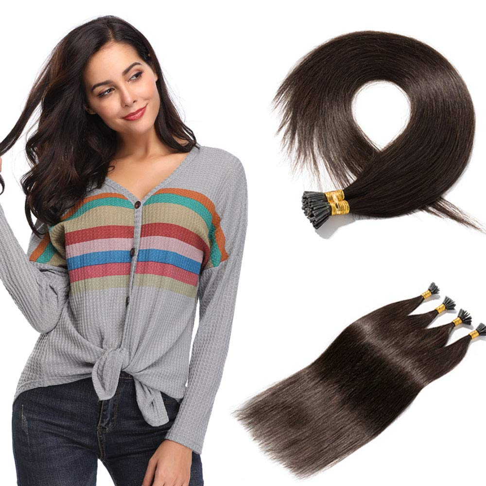 100 Strands/Pack I Tip Remy Human Hair Extensions Pre Bonded Keratin Stick In Hair Extensions Cold Fusion Hair Piece For Women Long Straight #2 Dark Brown 20'' 50g