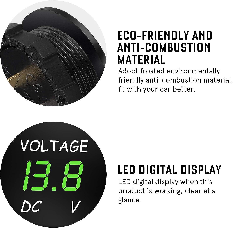 Winomo Dc 12v 24v Led Display Digital Voltmeter Spannungsmesser Für Auto Motorrad Auto Lkw Boot Marine Grünes Licht Auto