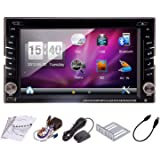 Headunit In Dash Double 2 Din 2015 New Wince OS Car CD DVD Player GPS Navigation with free SD map Card Auto Video Stereo Support HD Digital Touch Screen FM AM Radio Bluetooth for hands free