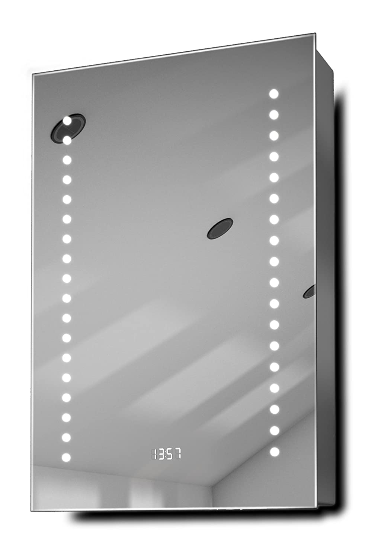 Achilles Clock Led Bathroom Cabinet With Demister Pad, Sensor & Shaver  K381: Amazon: Kitchen & Home