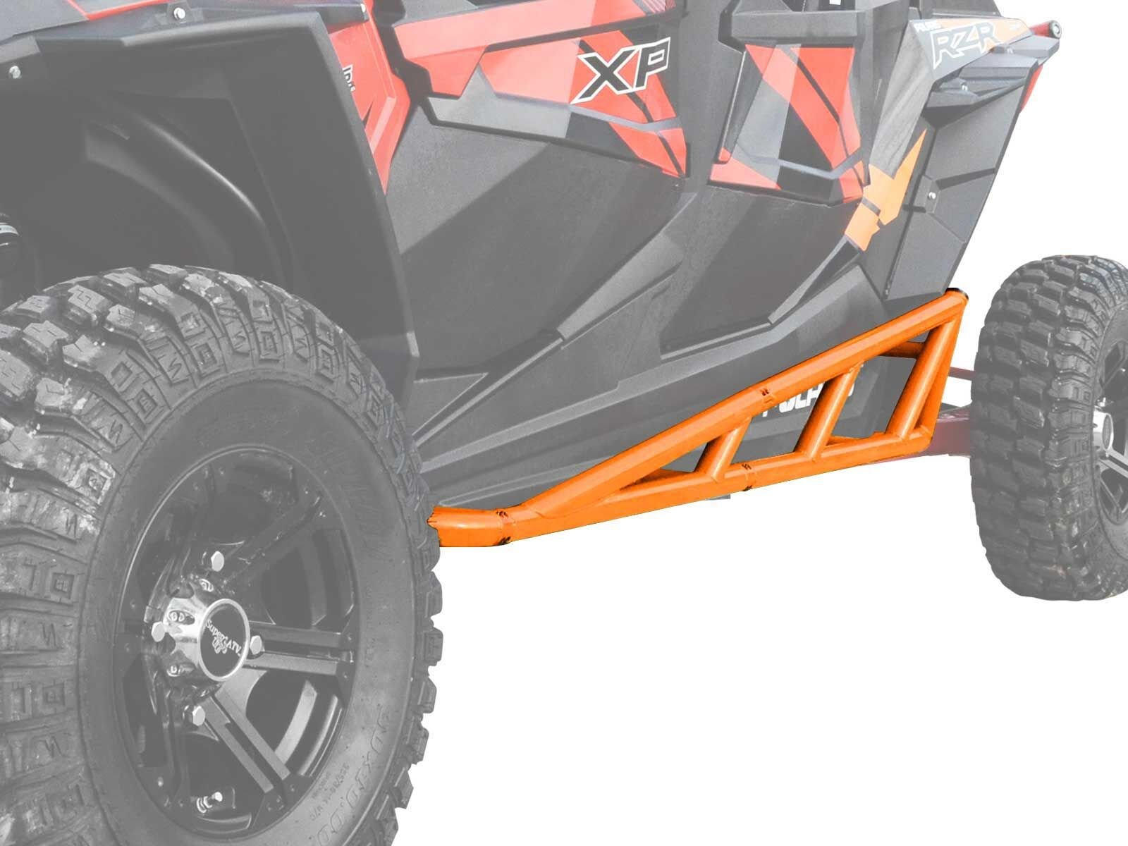 SuperATV Nerf Bars/Tree Kickers/Rock Sliders for Polaris RZR XP 4 1000 (2014+) - Orange - Compatible With Our Full Protection Kit!