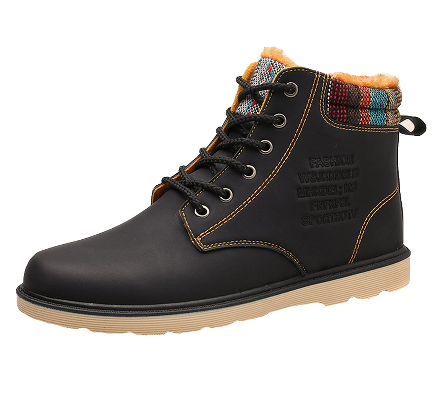 Men Winter Warm Ankle Boot Combat Martin High-top Lace up Shoe Sneaker Plus Size