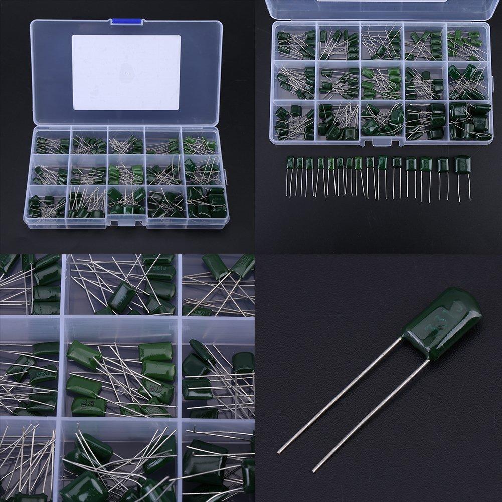 150Pcs 15Value 100V 0.33nF-470nF Condensatori a Film in Poliestere Labled Componenti Elettronici Assortimento Kit con Scatola di Plastica