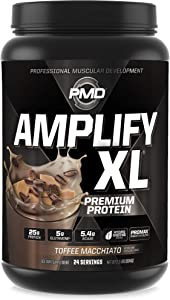 PMD Sports Amplify XL Premium Whey Protein Supplement Hydro Greens Blend - Glutamine and Whey Protein Matrix with Superfood for Muscle, Strength and Recovery - Toffee Macchiato (24 Servings)