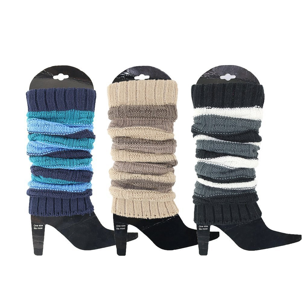 3 Pack Women's Fall Winter Warm Colorful Striped Knit Leg Warmers Long Socks