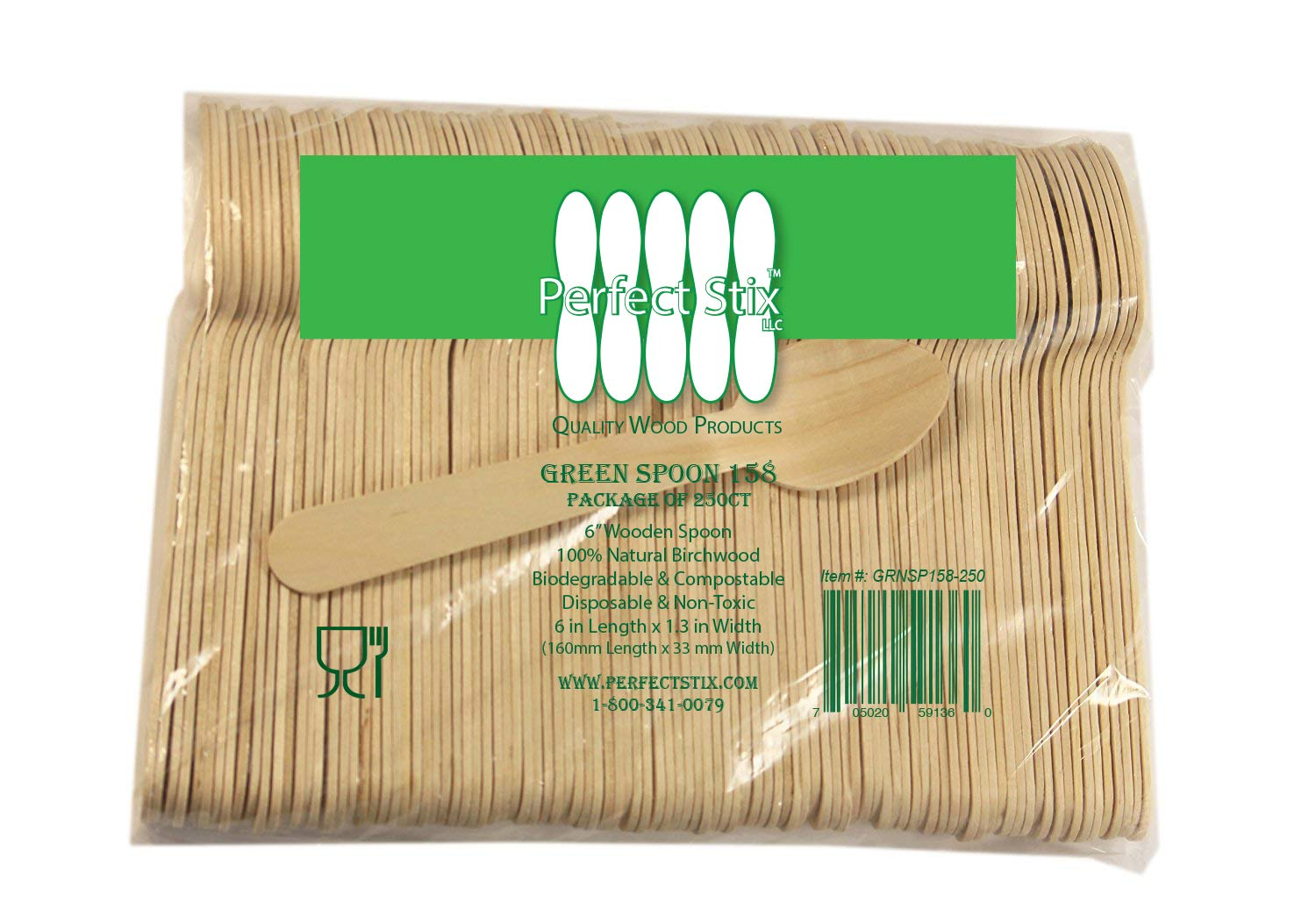 Perfect Stix Green Spoon 158-250 Wooden Disposable Spoons, 6'' Length (Pack of 250)