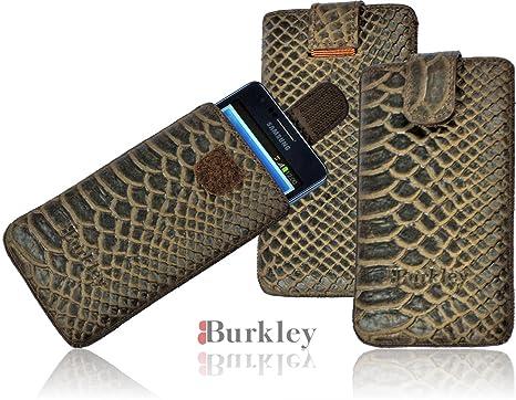Burkley Wetcase Iguana Caqui de gris piel funda para el SONY XPERIA P LT22i Case Funda