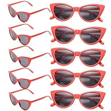 FSMILING Paquete de 10 Gafas de Sol Ojo de Gato Retro para Niñas Mujer Fiesta(Rojas)