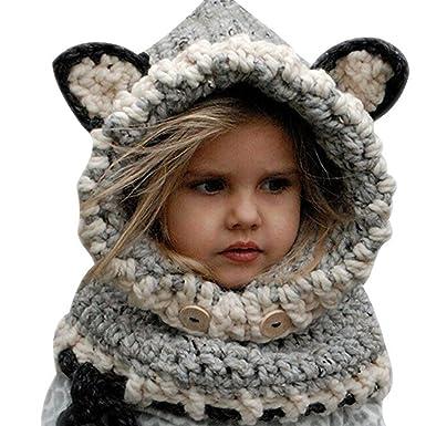 koobea Bonnet Chaud Chapeau Cagoule Renard Bebe Enfant Echarpe Hiver Automne  en Laine Tricote (Gris 5f8ea43e12f
