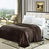 Soft Flannel Fleece Blanket, Dark Brown, King Size, 210 * 200 cm