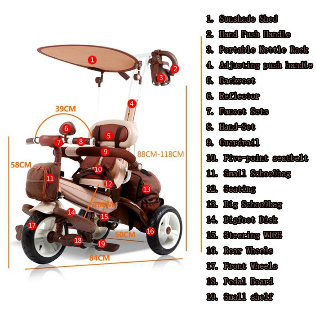 Amazon.com : GOUGOU Children pedal tricycle Bicycle Baby Stroller, A ...